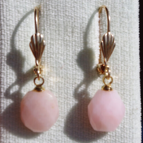 QUALITY GORGEOUS 14K GF FACETED PINK OPAL LEVER BACK EARRINGS