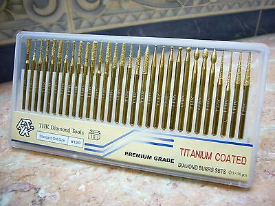 30 pieces THK Diamond TITANIUM coated rotary points burr burrs tools 3mm shank