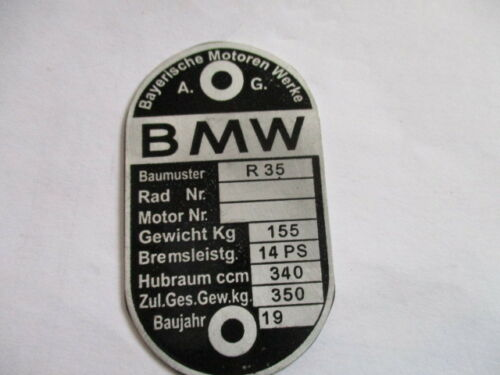 Nameplate BMW R 35 R35 Vintage Car Motorcycle Shield 350 kg Aluminum Etched