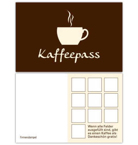 Kaffee Pass Café Bonuskarten Treuekarten Rabattkarten Kaffeepass 400 Stück