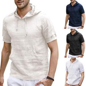 Herren-Pullover-mit-Kapuze-Kurzarm-Leinen-T-Shirt-Shirt-Hemde-Tops-Sommer