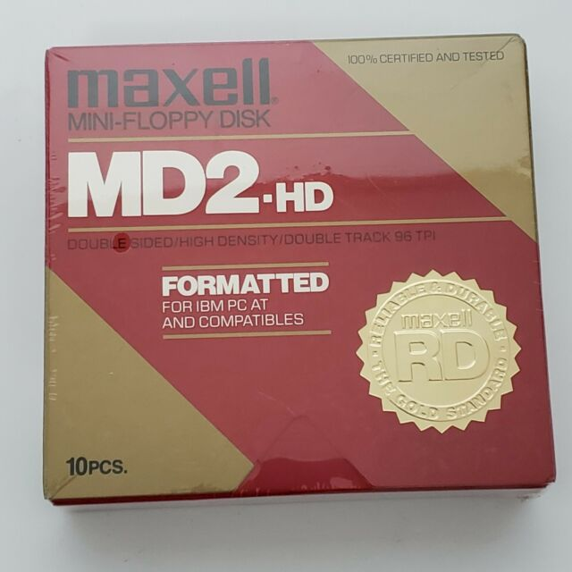 Maxell Mini Floppy Disk MD2 - HD Double Sided High Density For IBM Pack of 10