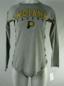 best service 5896a 227cc Details about Indiana Pacers Basketball NBA Women's Grey/Yellow Long Sleeve  Shirt