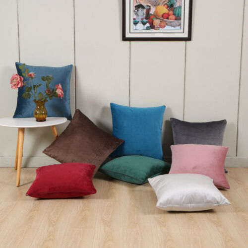 "US 16/"" 18/"" Velvet Luxury Solid Color Cushion Cover Pillow Case Home Sofa Decor"