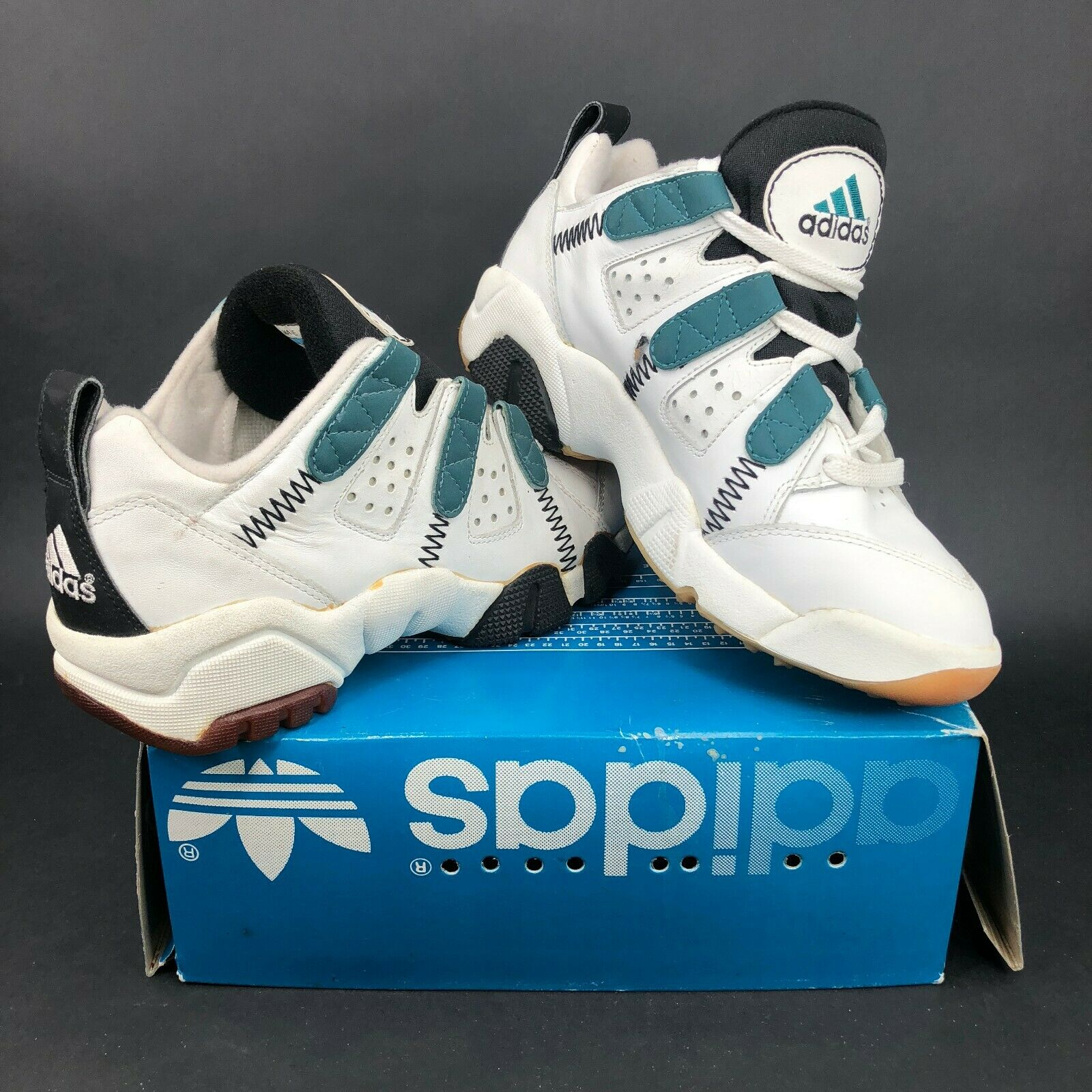 Vintage 1994 adidas Sup. Trainer Lo 1DF Fitness Mens 8 Sneakers shoes White