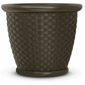 Details About 22 Resin Wicker Planter Pack Of 2 Large Outdoor Garden Patio Deck Flower Pots