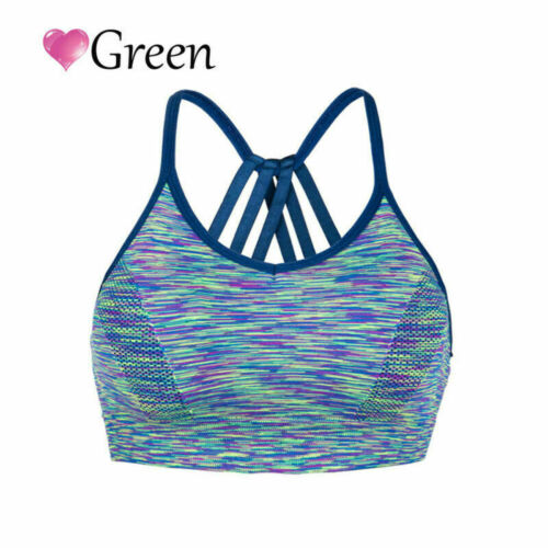Fashion Lady Yoga Bra Back Triple Criss Cross Caged Strappy Tops Bralette Padded