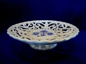 Collectible KERAMIK CZECH REPUBLIC Hand Painted Footed Bowl/Compote-Blue&Cutouts