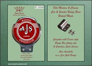 Royale Classic Car Badge & Bar Clip AJS MODENA SCOOTER OWNERS CLUB Red B1.2555R