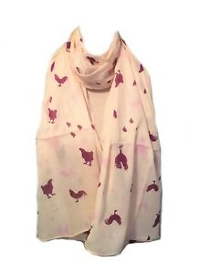 Cream-Nude-Purple-Hen-Hens-Chicken-Chick-Scarf-Christmas-Gift-Scarves-Present