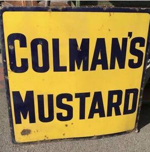 colmans Mustard Advert VINTAGE ENAMEL METAL TIN SIGN WALL PLAQUE