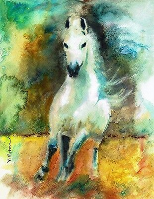 A 675 Original Watercolor Painting Horses Are Best Friends Gift Idea Ebay