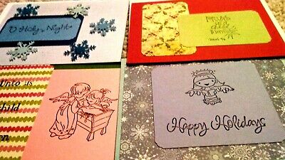 6 Christmas Cards w Envelopes Creative Presence Red Gold Foil Dots