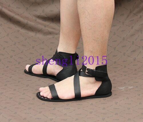 in Chic Cross scarpe romana Muk15 Flats Strap Buckle Sandali pelle Gladiatore Mens RwXx4qfO