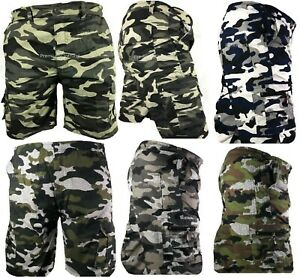 Mens-Army-Camouflage-Cargo-Elasticated-Shorts-Cotton-Combat-Half-Pants-Bottoms
