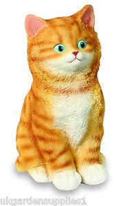 Resin-Ginger-Cat-Ornament-Figure-Animal-Statue-Garden-Kitten-Ornament
