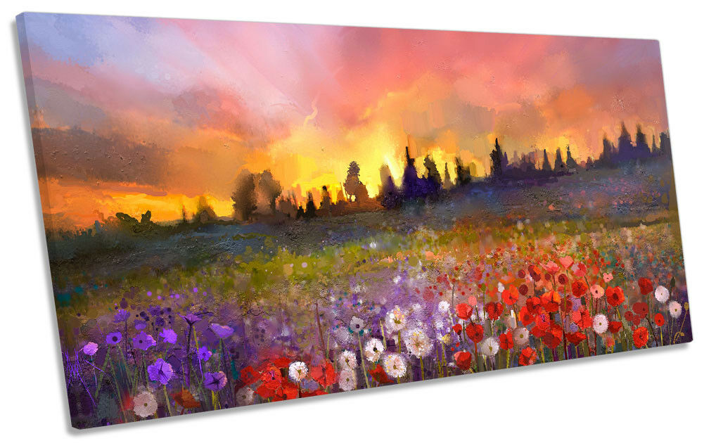 Floral Landscape Sunset Repro PANORAMIC CANVAS WALL WALL WALL ARTWORK Print Art 473484