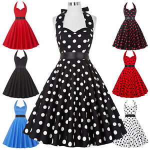 New-Women-Polka-Dots-50-039-s-Halter-Vintage-Swing-Ball-Cocktail-Evening-Party-Dress