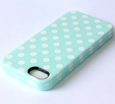 For iPhone SE 5S HARD & SOFT RUBBER HYBRID SKIN CASE COVER MINT BLUE POLKA DOTS