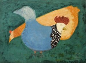 Milton Clark Avery : Two Chickens : 1948 : Archival Quality Art Print