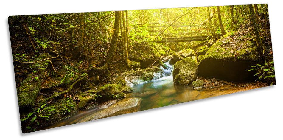 verde FORESTA FIUME PONTE CANVAS Wall Wall Wall Art pano incorniciato stampa 045035