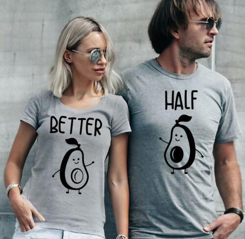 Valentine/'s day gift Better Half grey T-shirts set with avocados