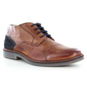 Details zu Bugatti 311 60902 3100 Men Premium Leather 4 Eyelet Low Ankle Boots Cognac