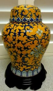 LOVELY-Large-VINTAGE-Decorative-HAND-PAINTED-FLORAL-LIDDED-URN-13-039-039-X-12-039-INCH