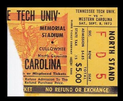 1973 Tennessee Tech v Western Carolina Football Ticket 9/8 ...