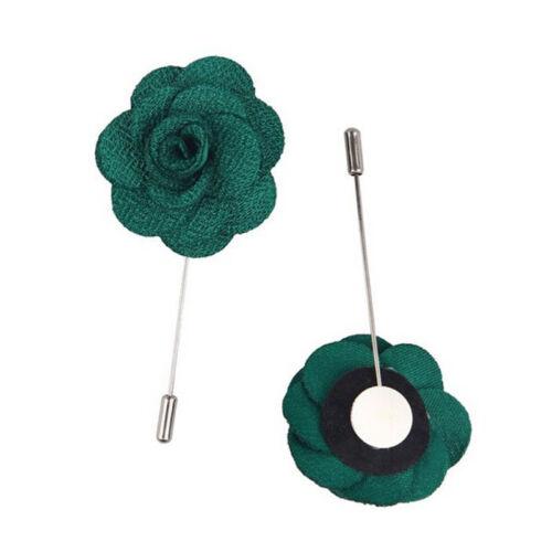 Hot Men/'s Lapel Pins Flower Handmade Boutonniere Pin For Suit Stick Brooch J/&C