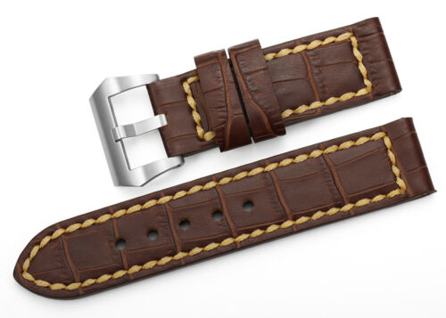 24mm Genuine Crocodile Leather Wrist Bands Tang Buckle Strap For Panerai 44mm