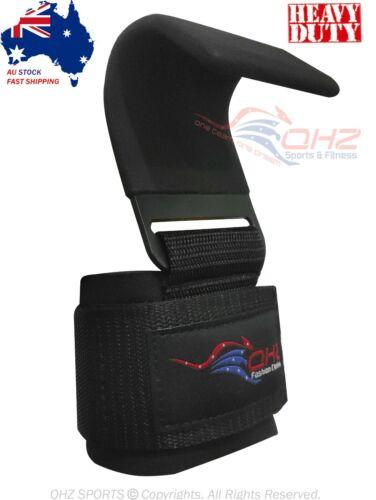QHZ Weight Lifting Hooks Gym Wrist Support Straps Power Gripper Chin Up Gloves