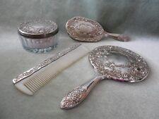 4 Pc. Silver Tone Metal Vanity Dresser Set- Brush/Comb/Mirror/Powder Jar