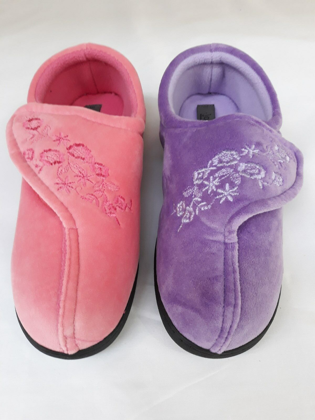 NEW WOMENS OPEN FRONT FLORAL PRINT FUR WOMENS SLIPPERS COMFORT SHOES SZ UK 4-8