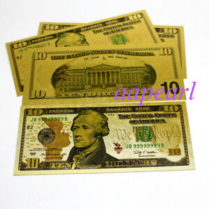 Wholesale 100pcs US $ 1 dollar golden Crafts Banknotes plastic paper money GIFT
