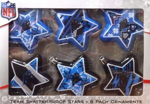 NEW-NFL-Carolina-Panthers-6-Shatter-Proof-Star-Ornaments
