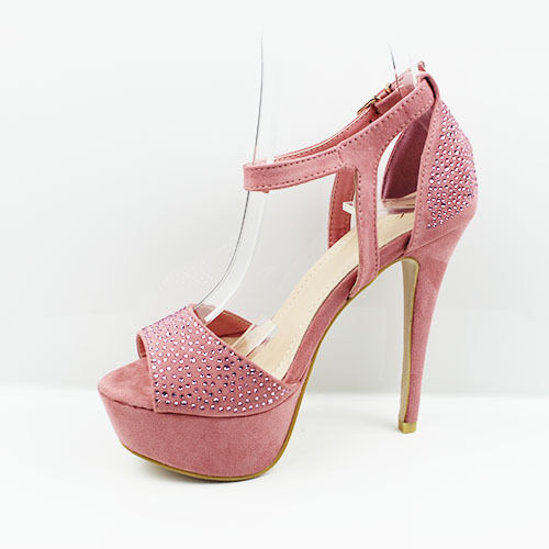 Womens Ladies Strappy Platform PEEP Toe High Heel Shoes Sandals Size 3-7 UK  4 Pale Pink for sale online  16c680b7b