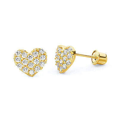 Wellingsale 14K Yellow Gold Polished Flower Stud Earrings With Screw Back