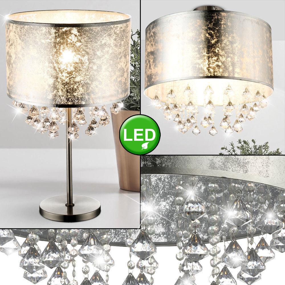 LED Lámpara de Techo Colgante Cristal textil Noche Mesa de lectura de la luz Hoja De Plata