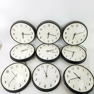 9-Vintage-Simplex-6310-9031-School-Electric-Hanging-Slave-Clocks-13-034-4Wire