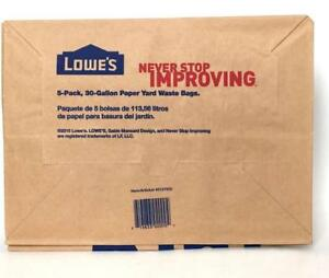 Lowes 30 Gallon Paper Yard Waste Bags 5 Count Pack Of 2 10 Total