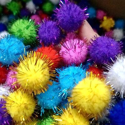 100pcs Glitter Plush Ball Pompom Hair Root Craft Supplies Kids Toys-Decorations//