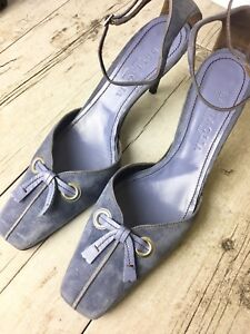Battaglia-Purple-Suede-Leather-Heels-Women-039-s-size-41-US-10-Strap-Made-In-Italy