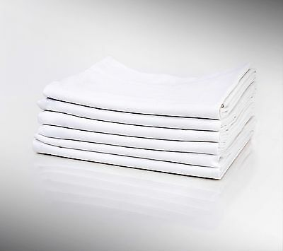 12 NEW COTTON BLEND WHITE PILLOWCASES KING SIZE 20X40 T180 PERCALE HOTEL LINEN
