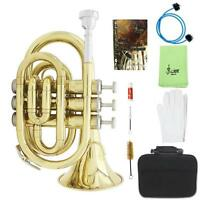 LADE Palm Pocket Trumpet Tone Flat B Bb Brass + Palm Pocket + Mouthpiece + Grease + Cleaning Brush + Cleaning Cloth + Pair of Gloves + Hardshell Case