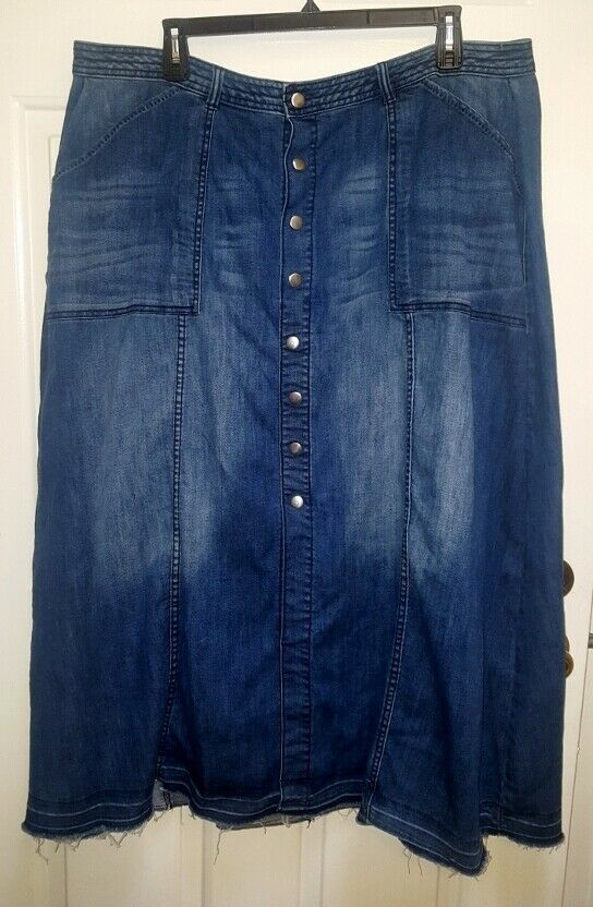 Lane Bryant 24 Long Denim Maxi Skirt Distressed 46x41