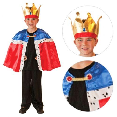Kids Unisex Royal Wedding King Queen Cape Crown Prince Harry Fancy Dress Costume