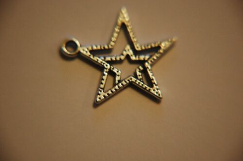22mm Large Double STAR Charms ~ Antiqued Silver Plate ~ 12 charms