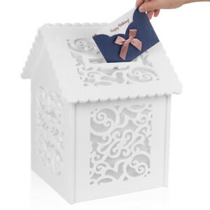 Details About White Wedding Greeting Card Box Birthday Party Decoration Supply Gift Money Box