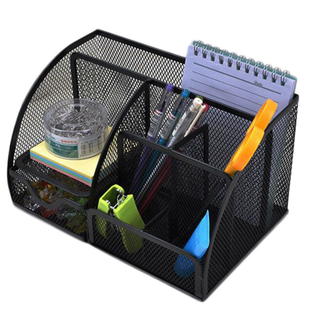 Organizer 9 Compartments Metal Black Mesh Desktop Office Pen Pencil Holder Desk